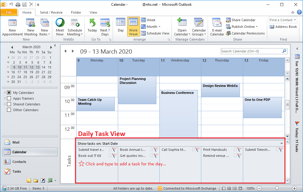 Outlook Daily Task List