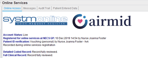 Screenshot of the Online Services node in the SystmOne Patient Record